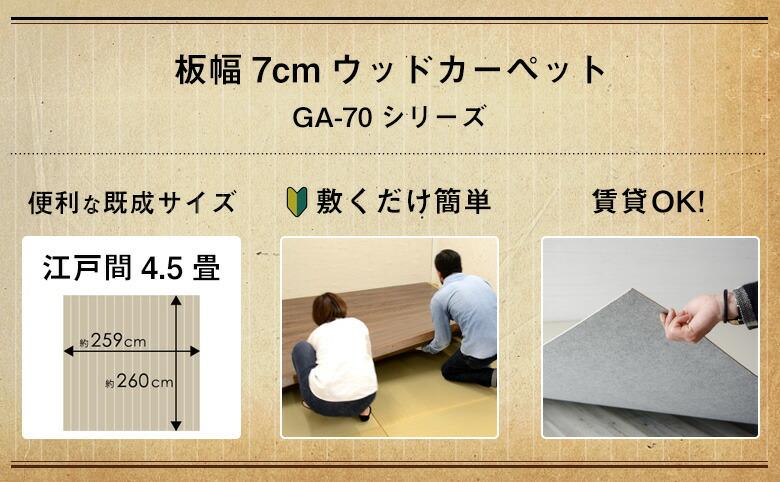 江戸間3畳のウッドカーペット