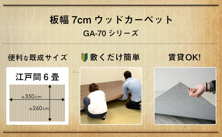 江戸間6畳のウッドカーペット