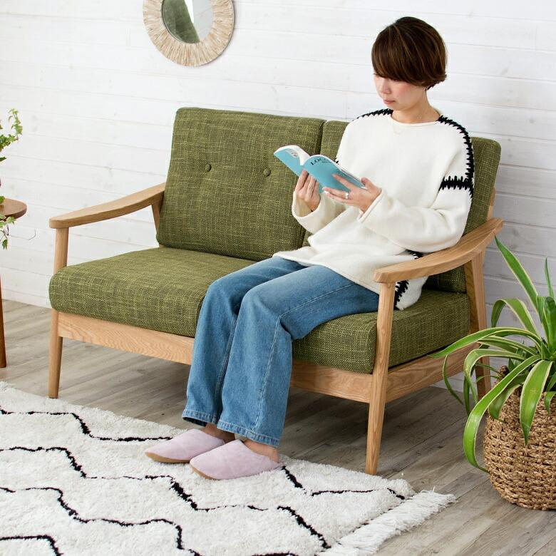 天然木アッシュの二人掛けソファ【完成品】