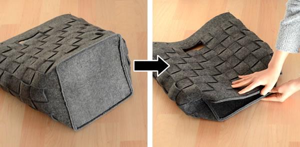 使わないときはマチを折りたたんでコンパクトに収納できます。
