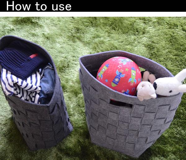 ランドリーバッグ以外にも、子供のオモチャ入れや洋服や帽子などの収納としてもお使いいただけます。