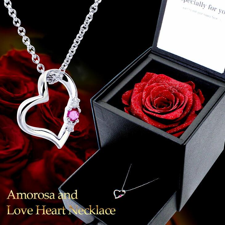 プレゼントに人気の誕生石ネックレスとプリザーブドフラワー 薔薇ボックスのギフトセット