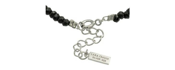 ブランド LARA Christie(ララクリスティー)のブラック スピネル ブレスレットのスターリングシルバーとブランドロゴの刻印。