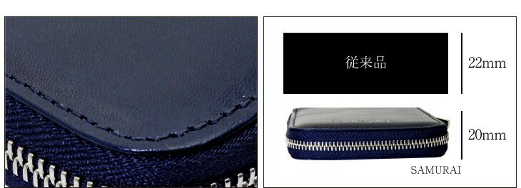 ブランド LARA Christie(ララクリスティー)のsamurai ラウンド ジップ スリム 二つ折り ウォレットの詳細。