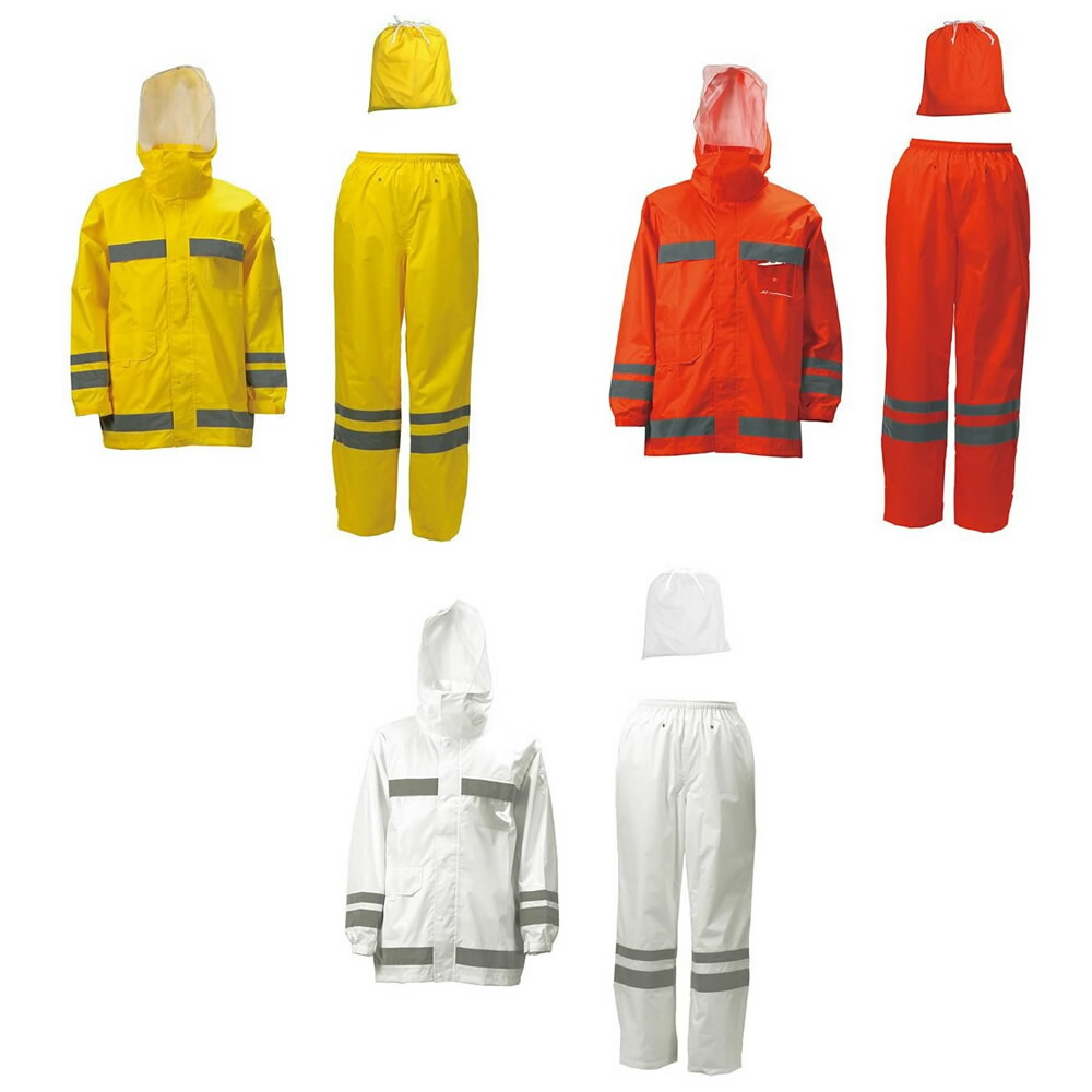 カジメイク 3810 視認性レインスーツ Lサイズ ホワイト(01)