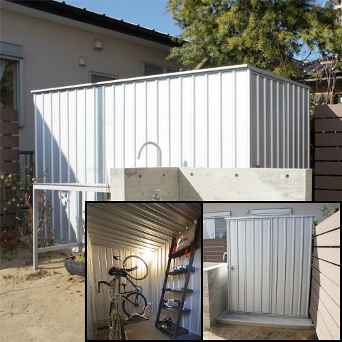 ユーロ物置1530SQ1シルバー木製床セット(物置本体+木製床+木製床用アンカー)キューブ型片側開き戸