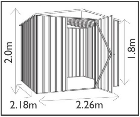 ユーロ物置2322F1若草色木製床セット(物置本体+木製床+木製床用アンカー)三角屋根中央開き戸_サイズ図