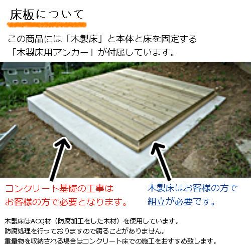 ユーロ物置2322F1若草色木製床セット(物置本体+木製床+木製床用アンカー)三角屋根中央開き戸_床について
