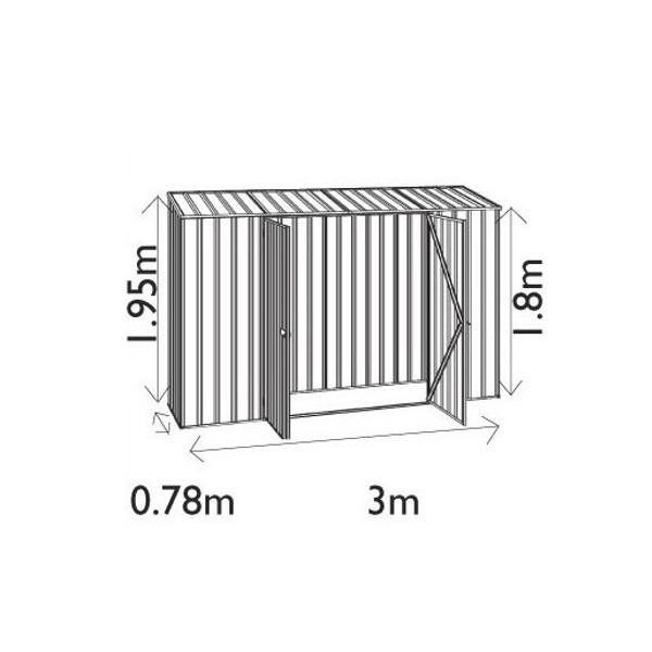 ユーロ物置3008K2シルバー木製床セット(物置本体+木製床+木製床用アンカー)片流れ屋根二枚扉_サイズ図