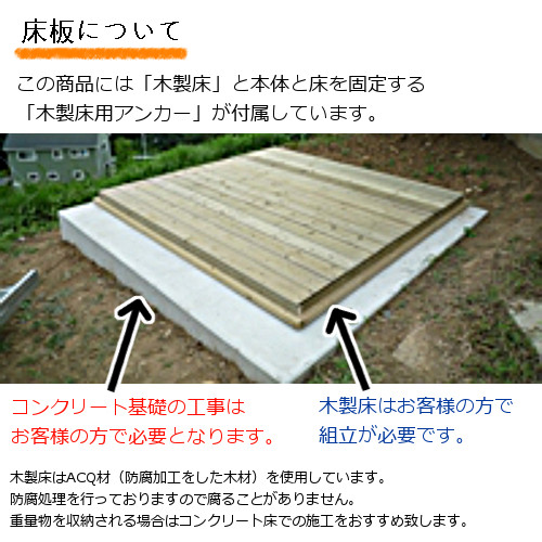 ユーロ物置3008K2シルバー木製床セット(物置本体+木製床+木製床用アンカー)片流れ屋根二枚扉_床について