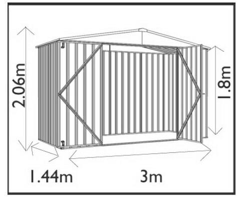 ユーロ物置3014F2シルバー木製床セット(物置本体+木製床+木製床用アンカー)三角屋根二枚扉_サイズ図