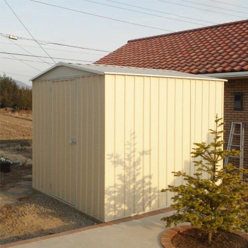 ユーロ物置 2322F1 シルバー 物置本体のみ (床なし+アンカーなし) 三角屋根 中央開き戸_使用・設置イメージ02