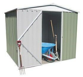 ユーロ物置 2322F1 シルバー 物置本体のみ (床なし+アンカーなし) 三角屋根 中央開き戸_使用・設置イメージ06