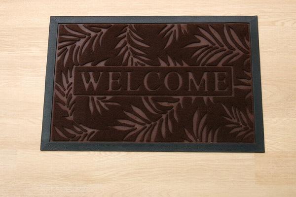 玄関マット リーフ柄  屋外用 『ステイ』 ブラウン 約40×60cm