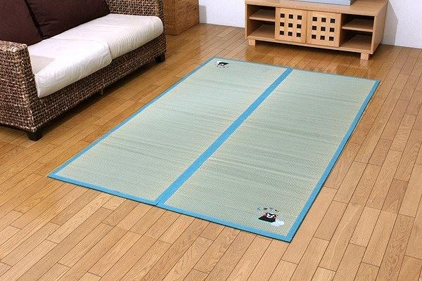 純国産 い草 ラグ カーペット 『くまモン 温泉』 約133×200cm