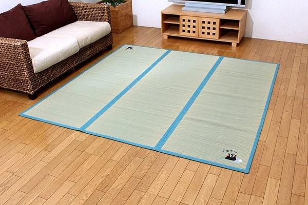純国産 い草 ラグ カーペット 『くまモン 温泉』 約200×200cm