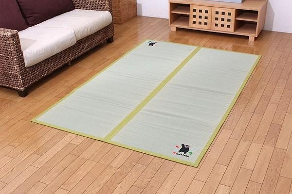 純国産 い草 ラグ カーペット 『くまモン すいか』 約133×200cm