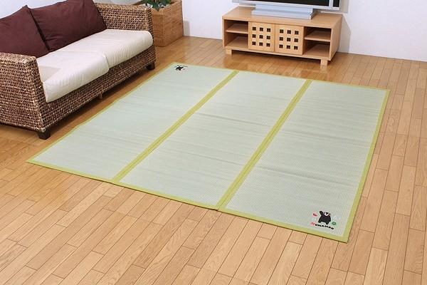 純国産 い草 ラグ カーペット 『くまモン すいか』 約200×200cm