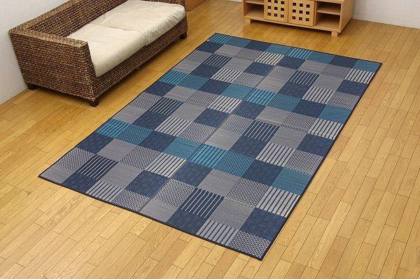 純国産 い草花ござカーペット 『京刺子』 ブルー 本間10畳(約477×382cm)