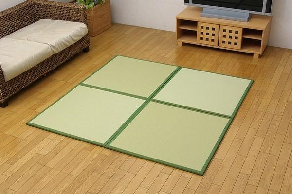 水拭きできる ポリプロピレン 置き畳 ユニット畳 『スカッシュ』 グリーン 82×82×1.7cm(6枚1セット) 軽量タイプ