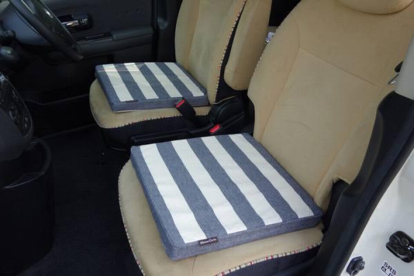 車用クッション カークッション クッション ベーシック ボーダー 綿100% インド綿 『ロカ 低反発マチ付き』 ネイビー 約40×40×4cm