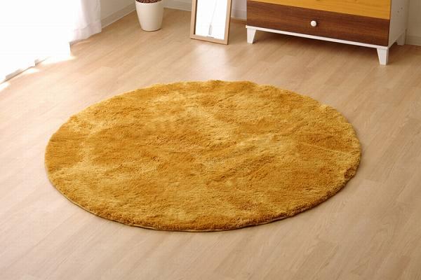 ラグ カーペット 洗える シャギー 円形 『スレッド』 イエロー 約150cm丸