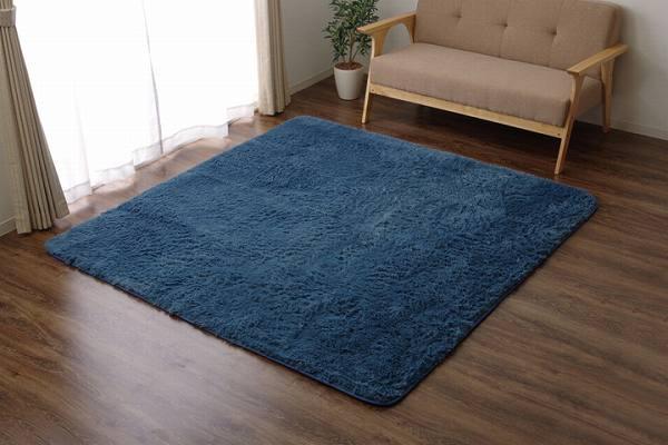 ラグ カーペット 3畳 シャギー 無地 北欧 マイクロファイバー 『ミスティ―IT』 ブルー 約200×250cm (ホットカーペット対応)