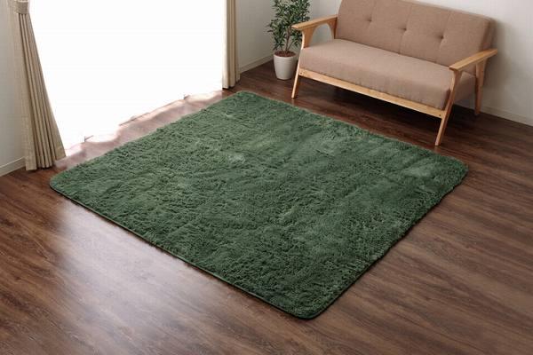 ラグ カーペット 4畳 シャギー 無地 北欧 マイクロファイバー 『ミスティ―IT』 グリーン 約200×300cm (ホットカーペット対応)