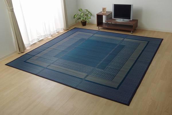 ラグ 国産 い草 ござ カーペット 『ランクス』 ネイビー 江戸間8畳(約348×352cm)