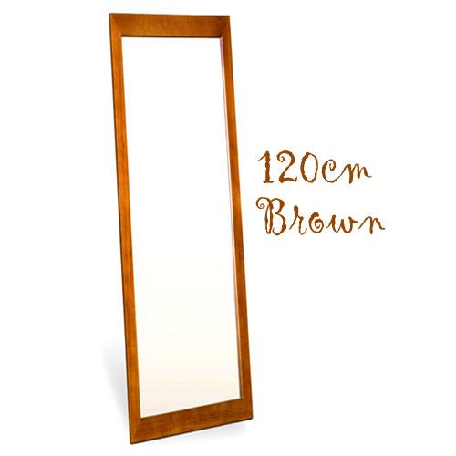 フラットフレームウォールミラー 高さ120cmタイプ(ブラウン) [鏡][姿見]