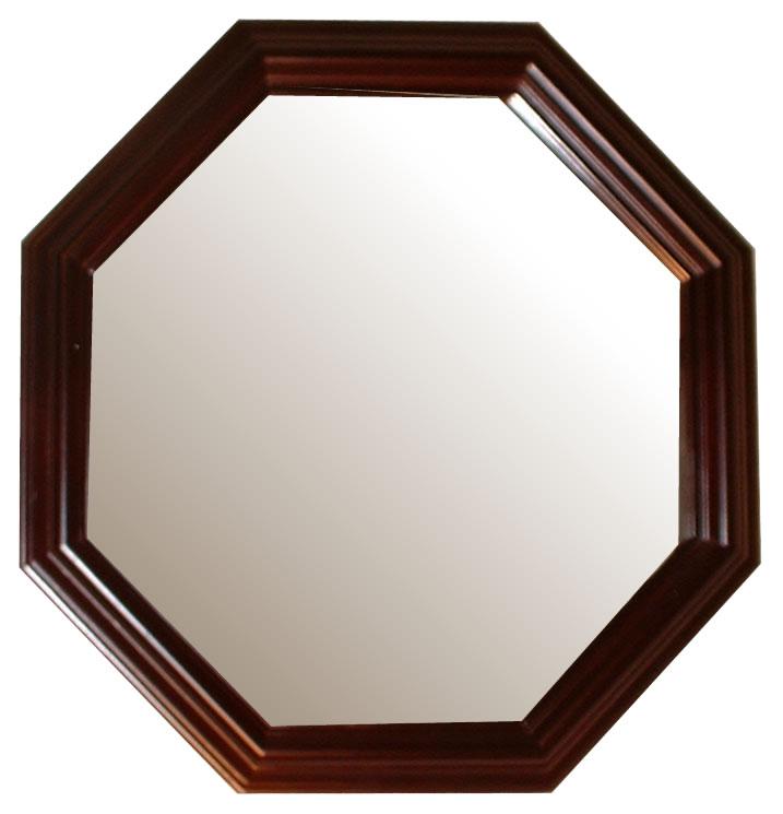 風水,八角形,鏡,ミラー,壁掛け鏡,ウォールミラー,幸運,送料,無料,ダークブラウン